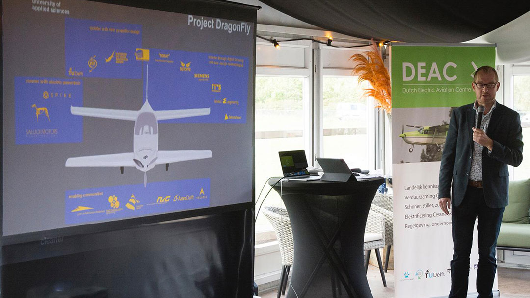 project dragonfly aeronautical & precision engineering inholland university of applied sciences delft the netherlands electric propulsion sustainable aviation simulation digital twin augmented reality small composites lightweight aircraft retrofit zero emission free Dutch initiative Platform Duurzaam Vliegen AeroDelft Falcon Electric DEAC
