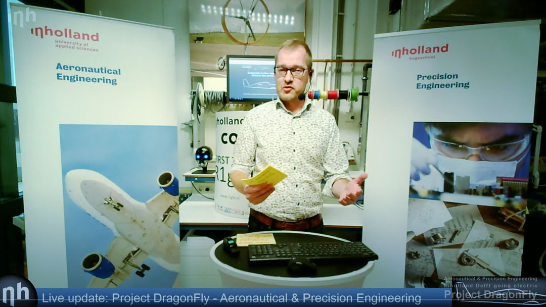 project dragonfly aeronautical & precision engineering inholland university of applied sciences delft the netherlands electric propulsion sustainable aviation simulation digital twin augmented reality small composites lightweight aircraft retrofit zero emission free Dutch initiative Platform Duurzaam Vliegen AeroDelft Falcon Electric DEAC V.S.V. Sipke Wynia Guest Lecture Arnold Koetje