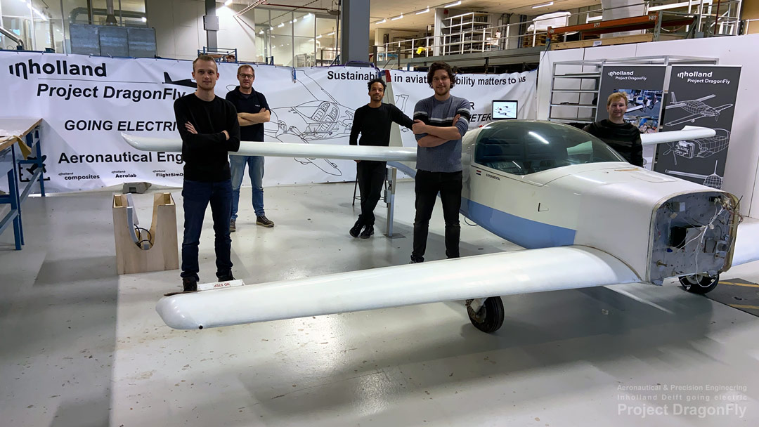 Dragonfly TPY Technology Park Ypenburg electric airplane propulsion Saluqi Stephen Hands Arnold Koetje Inholland Aeronautical Precision Engineering Delft Applied Sciences labs